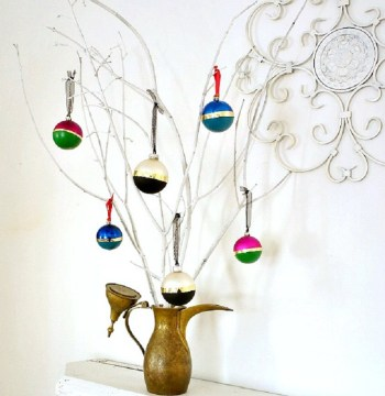 Color block ornaments with gold line