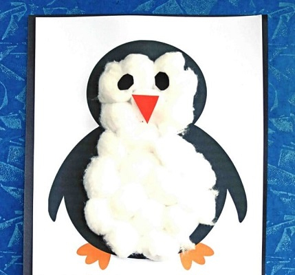 Cotton ball penguin DIY Winter Wonderland Animal Crafts To Having Fun Every Second This Season