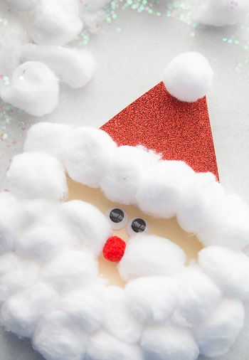 Cotton ball santaDIY Coziest Cotton Plant And Balls Crafts As Décor Items This Winter