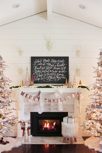 Diy rose gold christmas mantel DIY Rose Gold Christmas Décor Projects To Bring Glam And Shine To Your Holidays