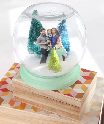 Family portrait in the snow globe