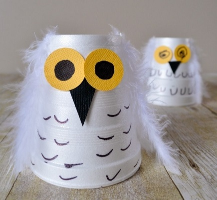 Foam cup snowy owl DIY Winter Wonderland Animal Crafts To Having Fun Every Second This Season