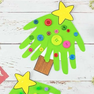 Handprint christmas tree cards Delightful Christmas Handprint Crafts That Anyone Will Keep Forever