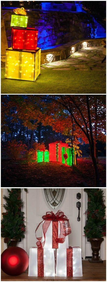 Lighted gift boxes Homemade Outdoor Decoration Ideas To Complete Your Christmas Celebration