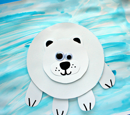 Paper polar bear on ice DIY Winter Wonderland Animal Crafts To Having Fun Every Second This Season