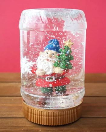 Peanut butter jar snow globe