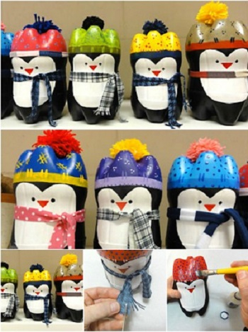 Plastic bottle penguins DIY Ideas From Recycled Materials To Create Amazing Christmas Decoration