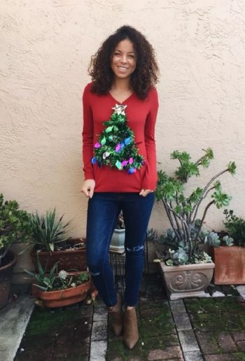 Red sweater with christmas tree