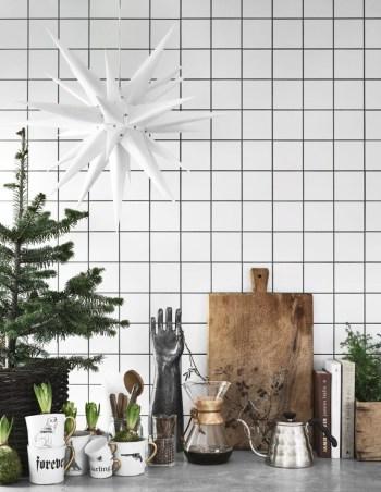 Scandinavian christmas kitchen countertop decor