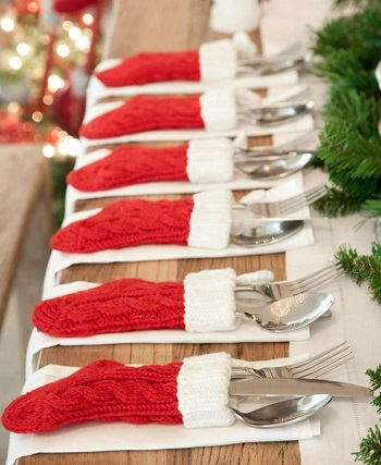Silverware stockings DIY Special Type of Christmas Table Decoration To Welcome Your Guests