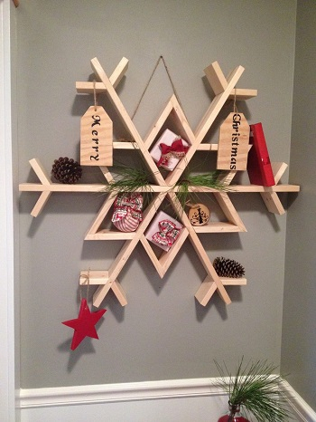 Snowflake wall shelf DIY Charming Rustic Christmas Wood Projects For Your Amazing Home