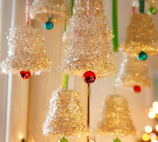Tinsel bells DIY Jingle Bell Christmas Decorations And Crafts To Convey Your Christmas Spirit