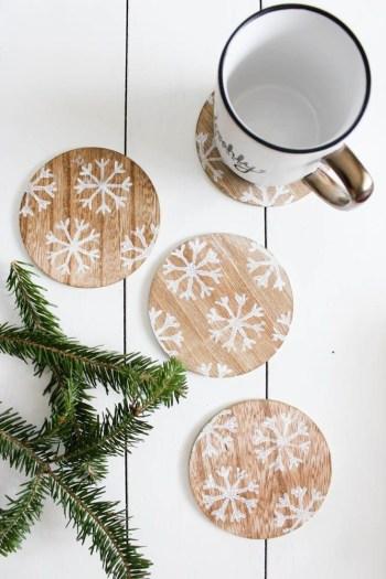 Winter snowflake coasters