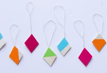 Diamond-shaped wooden ornaments