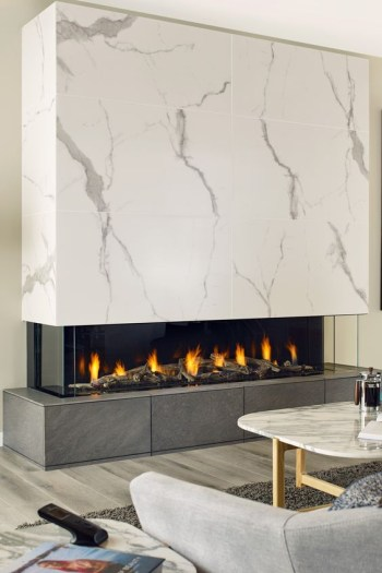 Fireplace with a dark tile base