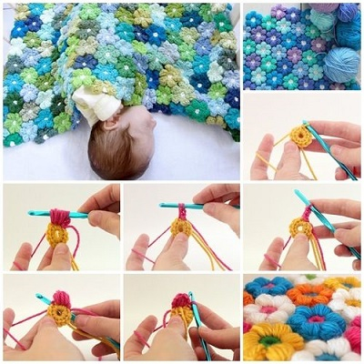 Crochet petal flower baby blanket DIY Winter Blankets To Keep Your Baby Warm Even When Go For A Walk