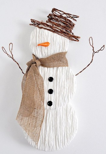 Diy yarn snowman wall art