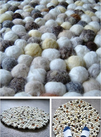 Felt faux stone rug DIY Easy To Copy Plus Low Budget Rug Ideas To Warm You Up This Winter