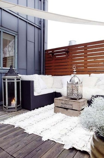 Winter terrace with fur rug Enjoyable Terrace Décor Ideas To Create This Winter To Stay Comfortable