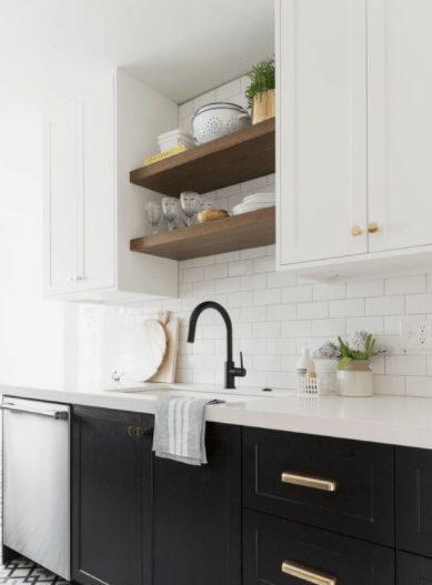 Add open shelving above the sink Easiest And Effective Ways To Do To Update Kitchen Shelving Design You Should Know