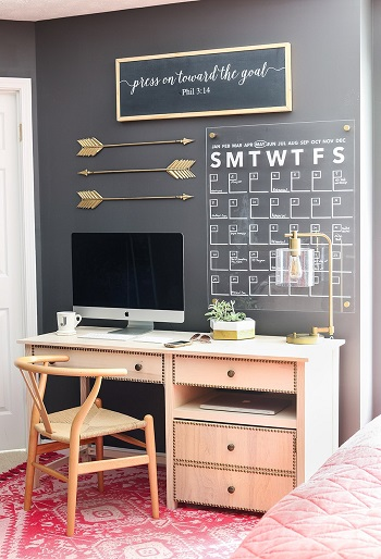 Acrylic wall calendar Blazing DIY Projects To Renew Your Home Office Look