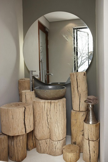Bathroom with wood stump vanity space Exhilarating DIY Ideas To Create Amazing Look For Bathroom