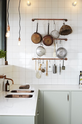 Copper pipe pot rack DIY Pot Racks To Create As Your Kitchen Highlight Exhibition