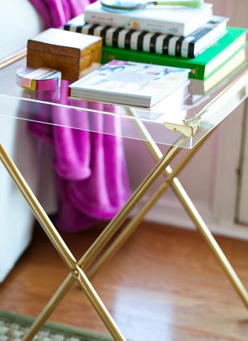 Diy acrylic and brass side table Suit DIY Side Table Ideas To Win Your Heart