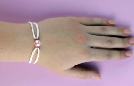 Diy leather bracelet with a pearl