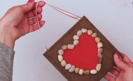 DIY Pebble Heart Wall Decor