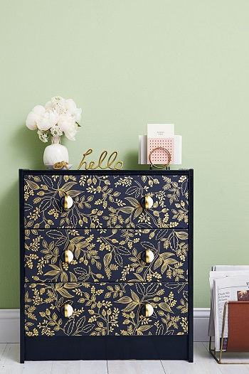 Patterned dresser Beginner-Appropriate DIY Project To Refresh Your Home Decoration