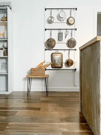 Rustic pot rack DIY Pot Racks To Create As Your Kitchen Highlight Exhibition