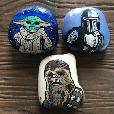 Star wars universe rock painting
