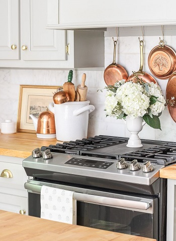 Tension rod pot rack idea DIY Pot Racks To Create As Your Kitchen Highlight Exhibition