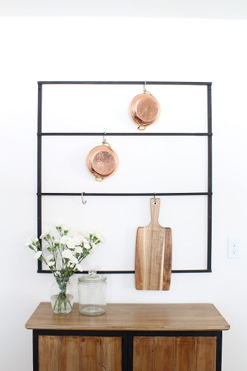 Wall-mounted pot rack DIY Pot Racks To Create As Your Kitchen Highlight Exhibition