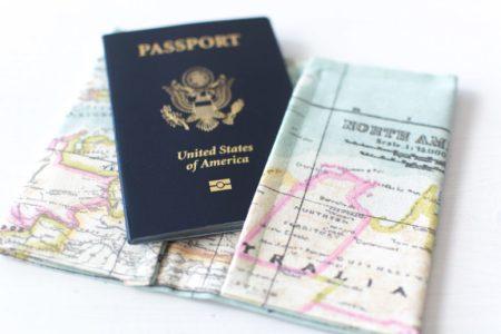 Diy cool map printed passport holder