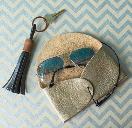 Diy metallic leather sunglasses case