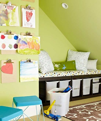Double duty DIY Storage Solution To Keep Your Kids Room Organized