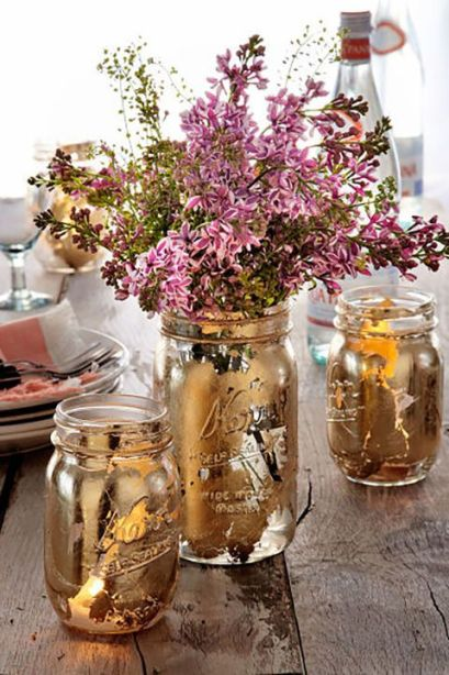 Golden mason jar