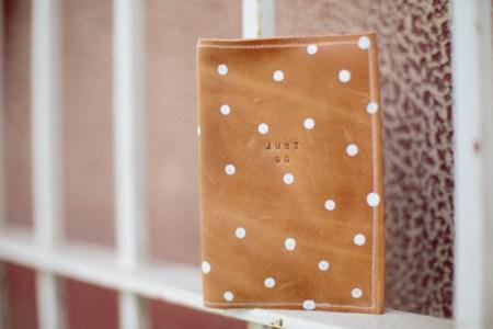 Polka dot passport holder