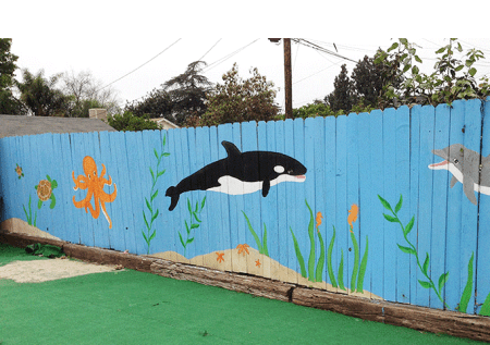Seaworld fence painting style