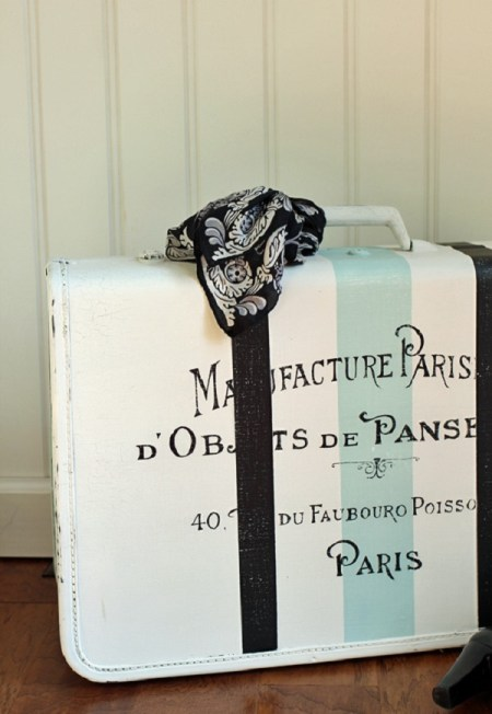 Stripes suitcase makeover