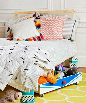 Trundle trick DIY Storage Solution To Keep Your Kids Room Organized
