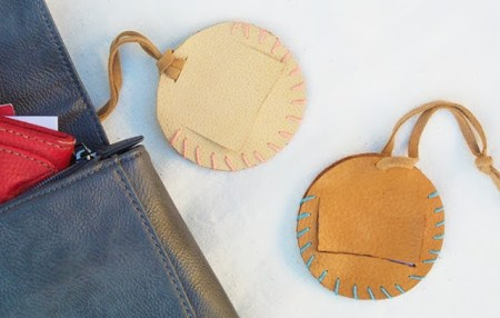 Cute round leather tags