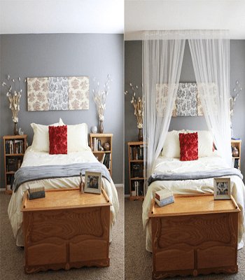 Bed canopy from old curtain DIY Repurposed Old Curtain Ideas For Your Home Decoration