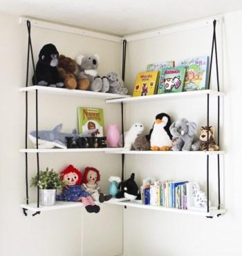 Diy corner rope shelves