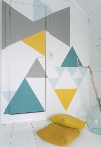 Diy geometric walls in spring colors