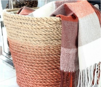 Diy ombre woven rope laundry basket