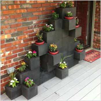 Diy stacked concrete block planters