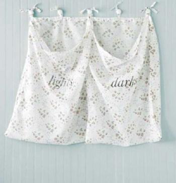 Drapery wall mounted laundry hamper